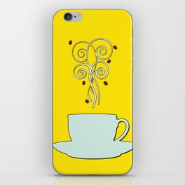 Aaah...coffee...  Retro / Vintage Coffee Print on Hello Sunshine Background iPhone Skin