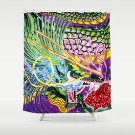 Dragon Of The Rose Shower Curtain