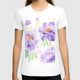 Watercolor Blue Peony flowers T-shirt