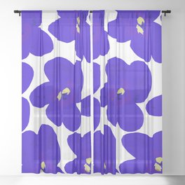 Blue Retro Flowers #decor #society6 #buyart Sheer Curtain