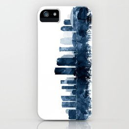 New Orleans Skyline Blue Watercolor Print by Zouzounio Art iPhone Case