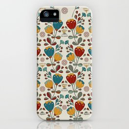 Vintage Ethno Flowers in red, blue and yellow on beige iPhone Case
