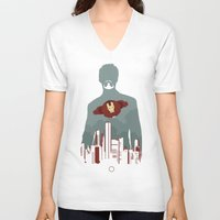 stark V-neck T-shirts featuring Tony Stark by offbeatzombie