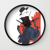 fringe Wall Clocks featuring Fringe by Sweet Bliss Art