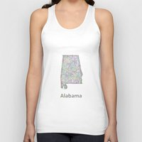 alabama Tank Tops featuring Alabama map by David Zydd