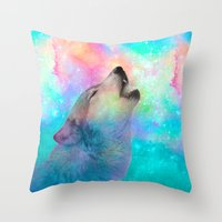 hobbes Throw Pillows featuring Breathing Dreams Like Air (Wolf Howl Abstract) by soaring anchor designs