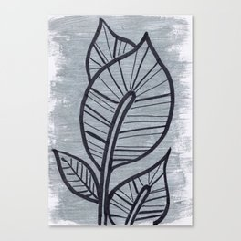 Black Leaves on Silvery Grey Canvas Print