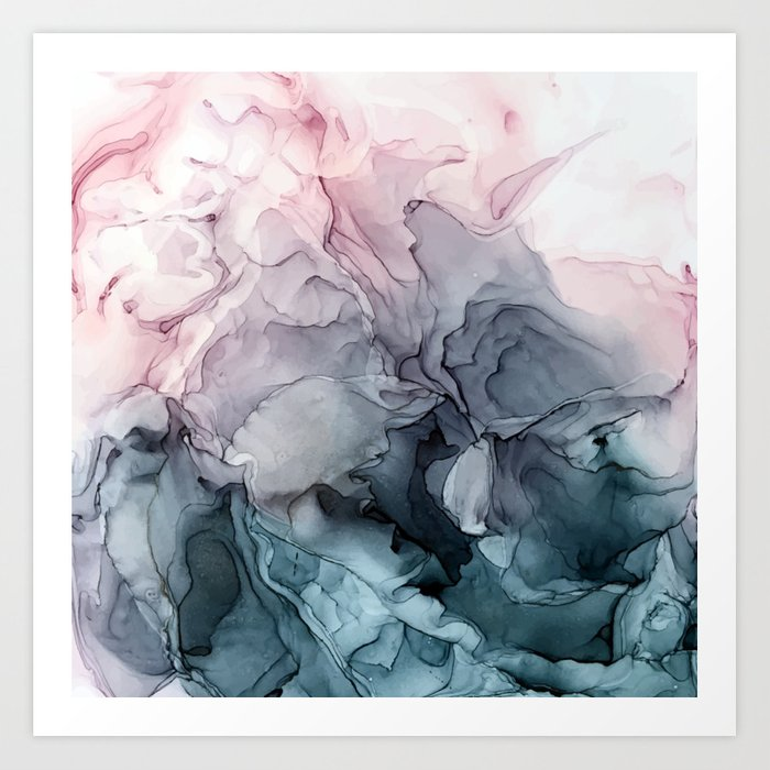 Blush and Paynes Gray Flowing Abstract Reflect Kunstdrucke
