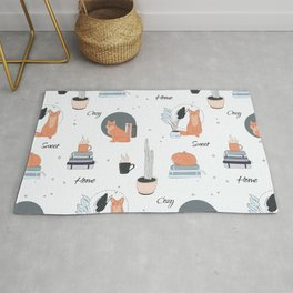 Foxes at home Rug