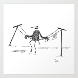 Crow on a Clothesline Art Print
