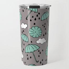 Blue umbrella sky rainy day abstract fall illustration pattern blue Travel Mug