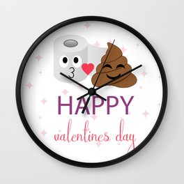 Poop and toilet tissue couple on valentines day Wall Clock
