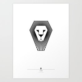 animal PICTOGRAMS vol. 5 - LIONS Art Print