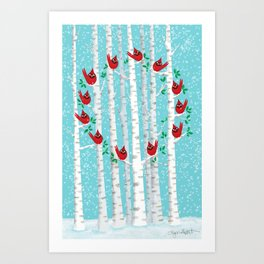 Cardinals in the Snow Art Print