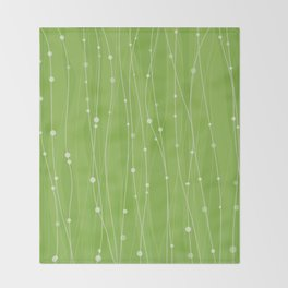 Green Pattern With Lines And Dots Throw Blanket