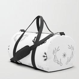 Reindeer antlers and snowflakes Duffle Bag