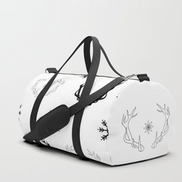 Reindeer antlers and snowflakes Duffle Bag