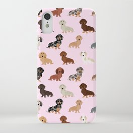 Dachshund dog breed pattern dapple merle black and tan coat colors iPhone 11 case