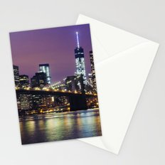 Manhattan Skyline over the Brooklyn Bridge at Night Stationery Cards