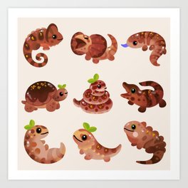 Chocolate Reptiles Art Print