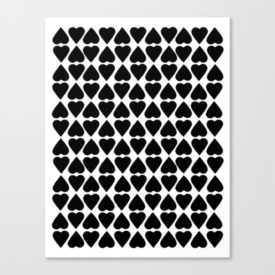 Diamond Hearts Repeat Black Canvas Print