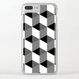 Geometric Optical Illusion Cube Art Clear iPhone Case