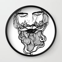 beard Wall Clocks featuring Beard  by Holly Harper