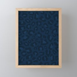 Leopard Print 2.0 - Navy Blue Framed Mini Art Print
