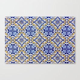 Close-up of blue, white and yellow ceramic wall tiles in Tavira, Portugal Canvas Print