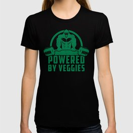 Powered By Veggies Vegan Gorilla - Funny Workout Quote Gift T-shirt