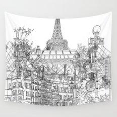 Paris! B&W Wall Tapestry