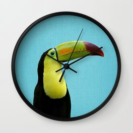 Toucan Bird - Blue Wall Clock