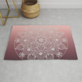 White Lace Flowers and Leaves Boho Floral Mandala on Dusty Rose Pink Rug