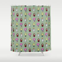 animal crossing Shower Curtains featuring Animal Crossing Design 6 by Caleb Cowan