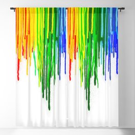 Rainbow Paint Drops on White Blackout Curtain
