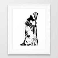 lacrosse Framed Art Prints featuring The lacrosse wizard by laxwear