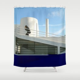 savoye glitch Shower Curtain