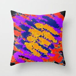 psychedelic splash painting abstract texture in red purple blue yellow Throw Pillow