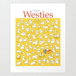 A Waggle of Westies Art Print
