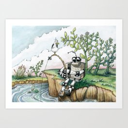 Robot Fishing Art Print