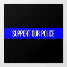 Support Our Police: Black U.S. Flag Canvas Print