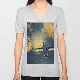 Golden Blue Hummingbird by CheyAnne Sexton Unisex V-Neck