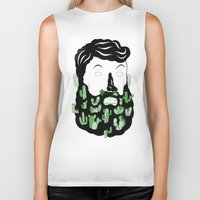 cactus Biker Tanks featuring Cactus Beard Dude by David Penela