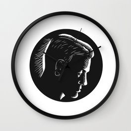 Pensive Man in Deep Thought Circle Woodcut Wall Clock