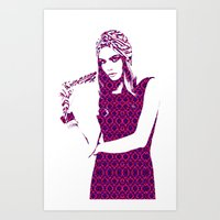 cara delevingne Art Prints featuring Cara Delevingne by fashionistheonlycure