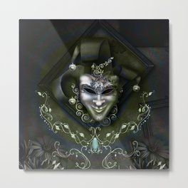 Venician mask with floral elements Metal Print