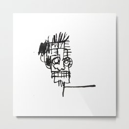 A vectorised and reworked Basquiat notebook sketch Metal Print