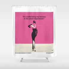 No204 My Breakfast at Tiffanys minimal movie poster Shower Curtain