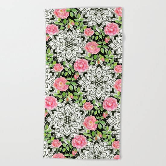 Peach Pink Roses and Mandalas on Black and White Lace Beach Towel