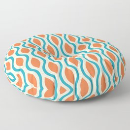 Retro Ogee Pattern 442 Orange Beige and Turquoise Floor Pillow